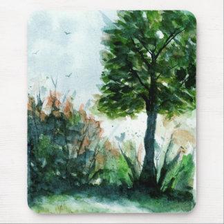 Tapis De Souris Arbre d'été de nature d'art de paysage d'aquarelle
