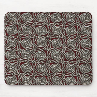 Tapis De Souris Argent et motif de noeuds en spirale celtique