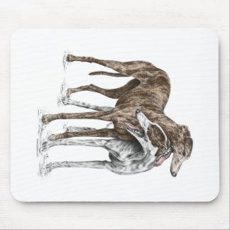 Tapis De Souris Art de chien de deux amis de lévrier