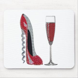 Tapis De Souris Art de stylet rouge de tire-bouchon et de vin