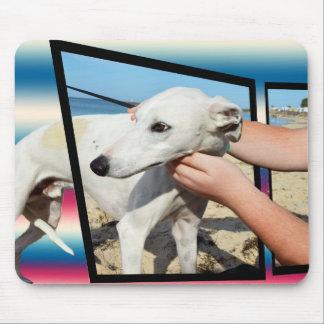 Tapis De Souris Art dimensionnel de chien blanc de whippet,