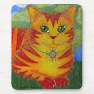 Tapis De Souris Art d'or Mousepad d'imaginaire de chat de Sun d'or