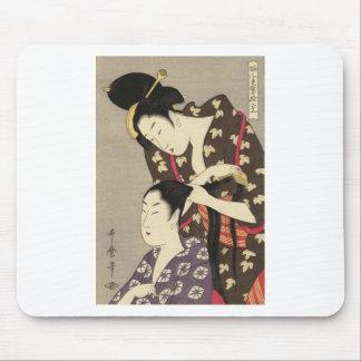 Tapis De Souris Art d'Utamaro Yuyudo Ukiyo-e de la coiffure des