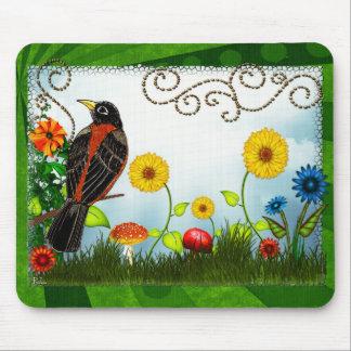 Tapis De Souris Art populaire lunatique d'observation d'oiseau