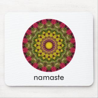 Tapis De Souris Art rond pourpre, jaune et vert Namaste de mandala