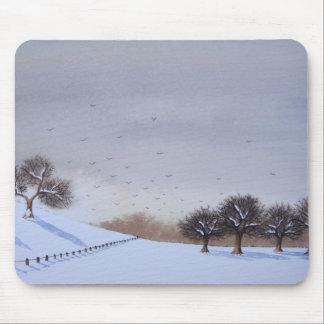 Tapis De Souris art rural de scène de neige de paysage de campagne