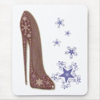 Tapis De Souris Art stylet de chaussure de Noël et flocons de