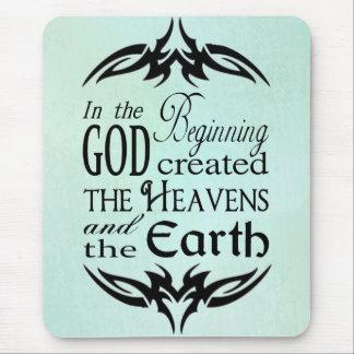 Tapis De Souris Au début Dieu a créé le ciel et la terre