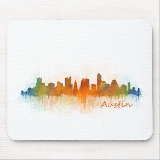Tapis De Souris Austin Texas skyline Watercolor v3