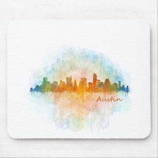 Tapis De Souris Austin Texas skyline watercolor v4