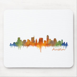 Tapis De Souris Austin Texas watercolor skyline v2