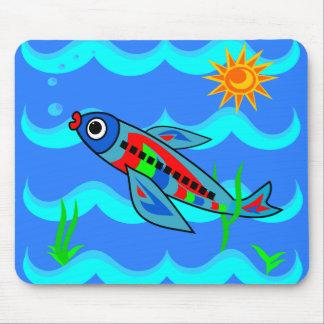 Tapis De Souris Avion coloré lunatique de poissons
