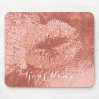Tapis De Souris Baiser nommé métallique de lèvres de maquillage