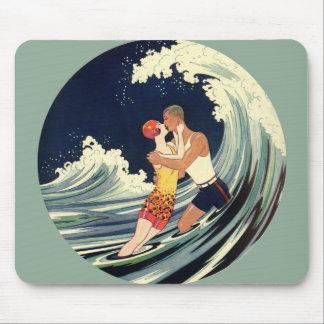Tapis De Souris Baiser vintage d'amants d'art déco dans les vagues