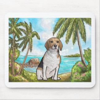 Tapis De Souris Beagle sur la plage tropicale de vacances