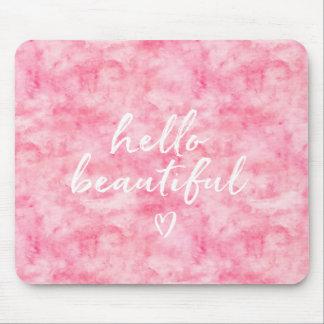 Tapis De Souris Beau coeur rose d'aquarelle bonjour