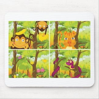 Tapis De Souris Beaucoup d'animaux vivant dans la jungle