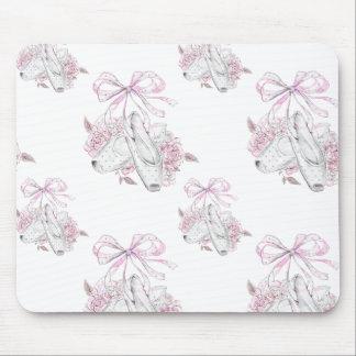 Tapis De Souris Belles chaussures de ballet avec les fleurs roses