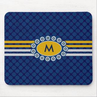 Tapis De Souris Bleu et or ID207 de monogramme de quatre rayures