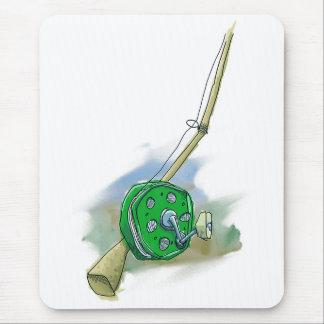 Tapis De Souris Bobine antique lunatique Mousepad de pêche