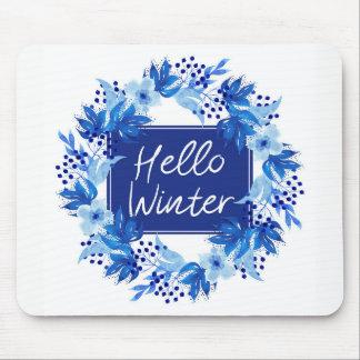 Tapis De Souris Bonjour blanc bleu de Mousepad de fleur d'hiver