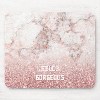 Tapis De Souris Bonjour marbre rose magnifique de blanc de parties