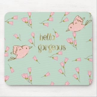 Tapis De Souris Bonjour mousepad floral rose magnifique de birdies