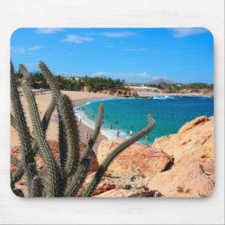 Tapis De Souris Cactus sur le sommet rocheux au-dessus de la plage