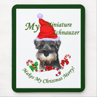 Tapis De Souris Cadeaux de Noël de Schnauzer miniature