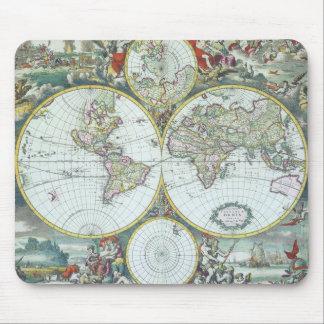 Tapis De Souris Carte antique du 17ème siècle du monde, Frederick