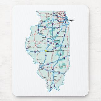Tapis De Souris Carte d'un état à un autre Mousepad de l'Illinois