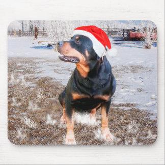 Tapis De Souris Casquette Mousepad de Noël de rottweiler