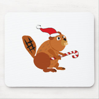 Tapis De Souris Castor drôle dans l'art de Noël de casquette de