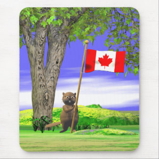 Tapis De Souris Castor et drapeau canadiens