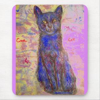 Tapis De Souris chat bleu frais