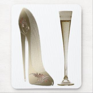 Tapis De Souris Chaussure stylet et Champagne