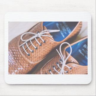 Tapis De Souris Chaussures en cuir de Brown de peau de serpent