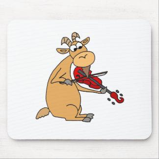 Tapis De Souris Chèvre drôle jouant la bande dessinée de violon
