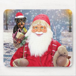 Tapis De Souris Chien de rottweiler de cadeaux de Noël du père