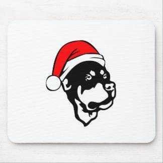 Tapis De Souris Chien de rottweiler utilisant le casquette rouge