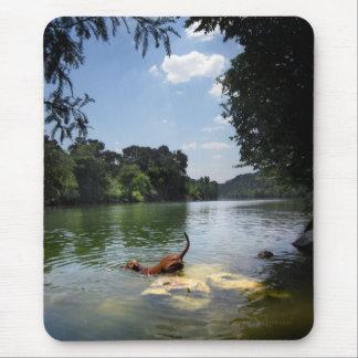 Tapis De Souris Chien nageant le lac ladybird - Austin du centre