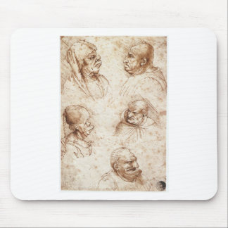 Tapis De Souris Cinq têtes de caricature par Leonardo da Vinci
