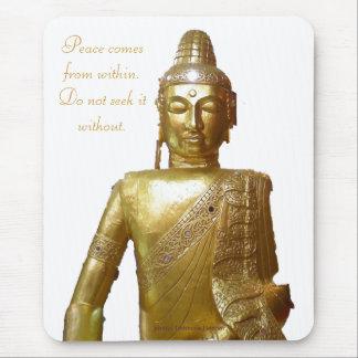 Tapis De Souris Citation de motivation de paix de Bouddha d'or