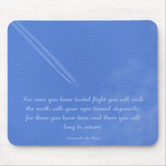 Tapis De Souris Citation inspirée de vol de Leonardo da Vinci