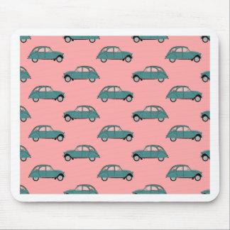Tapis De Souris Citroen 2CVs - Vert sur le rose - voitures