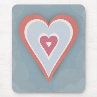 Tapis De Souris Coeurs d'amour - blanc et bleu rouges