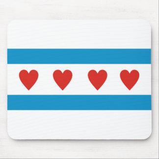 Tapis De Souris coeurs Etats-Unis Etats-Unis AM de drapeau d'amour