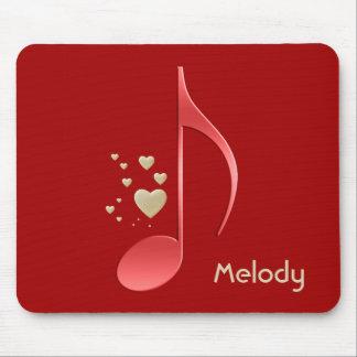 Tapis De Souris Coeurs rouges d'or de note de musique décorés d'un