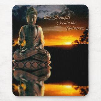 Tapis De Souris Coucher du soleil de Bouddha avec la citation