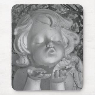 Tapis De Souris Coup noir et blanc un ange Mousepad de baiser